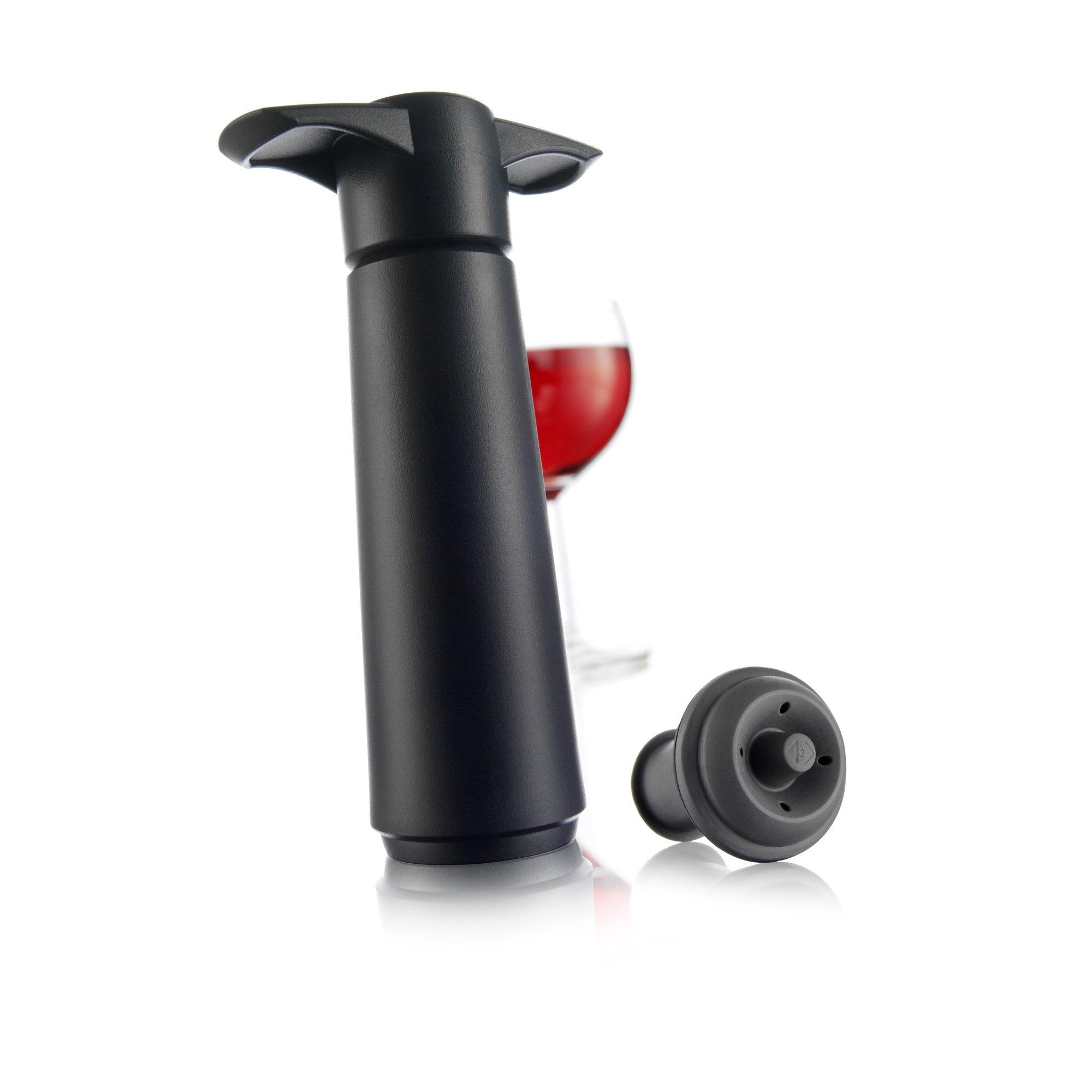 Vacu Vin Wine Saver Vakuumpump med två stopper Svart