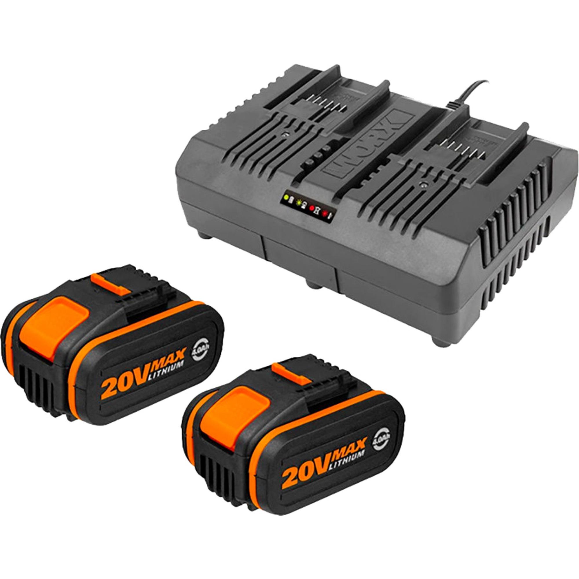 Worx 2x WA3553 20V 4.0Ah batteri + WA3883 laddare