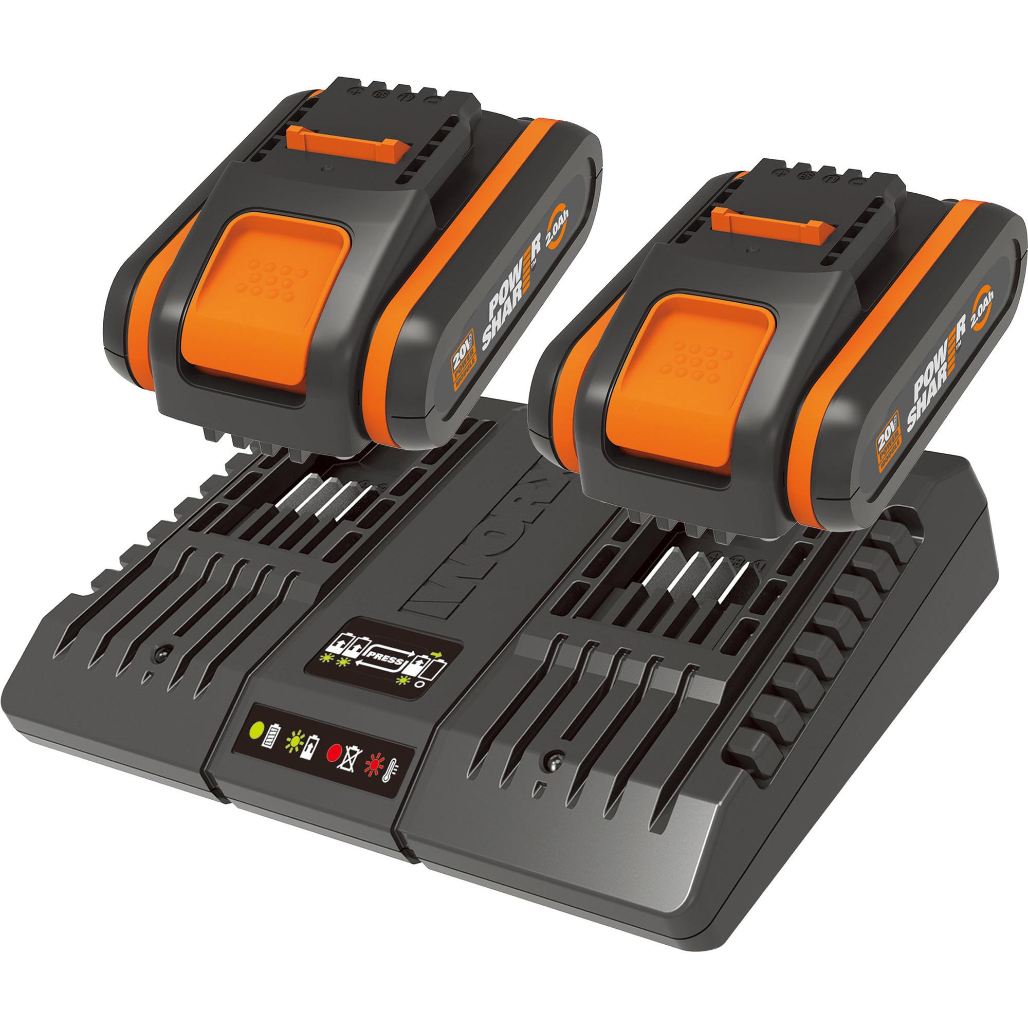 Worx 2 stk. WA3551.1 20V 2.0Ah-batteri + WA3869 laddare