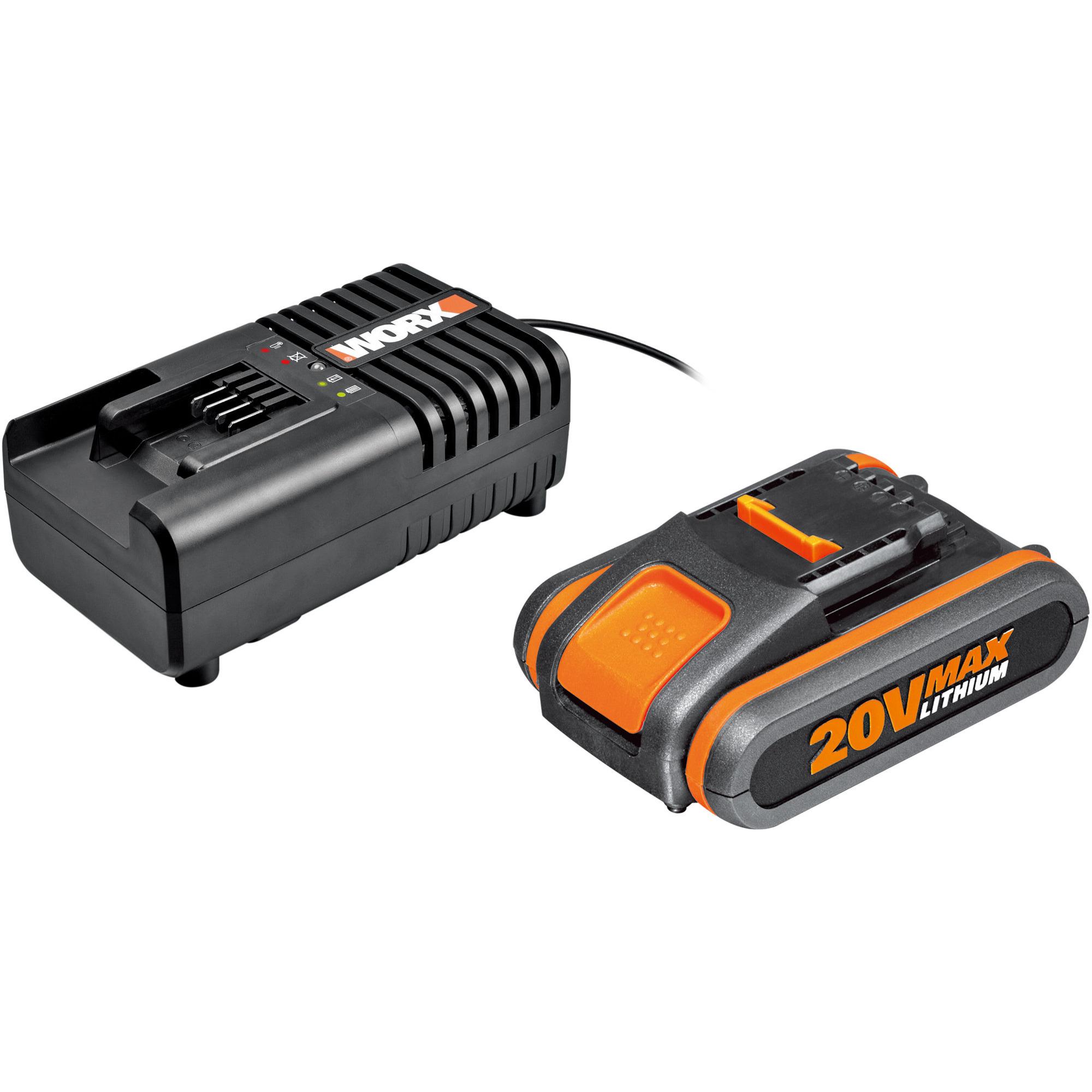 Worx WA3553 20V 4.0Ah-batteri + WA3860 batteriladdare