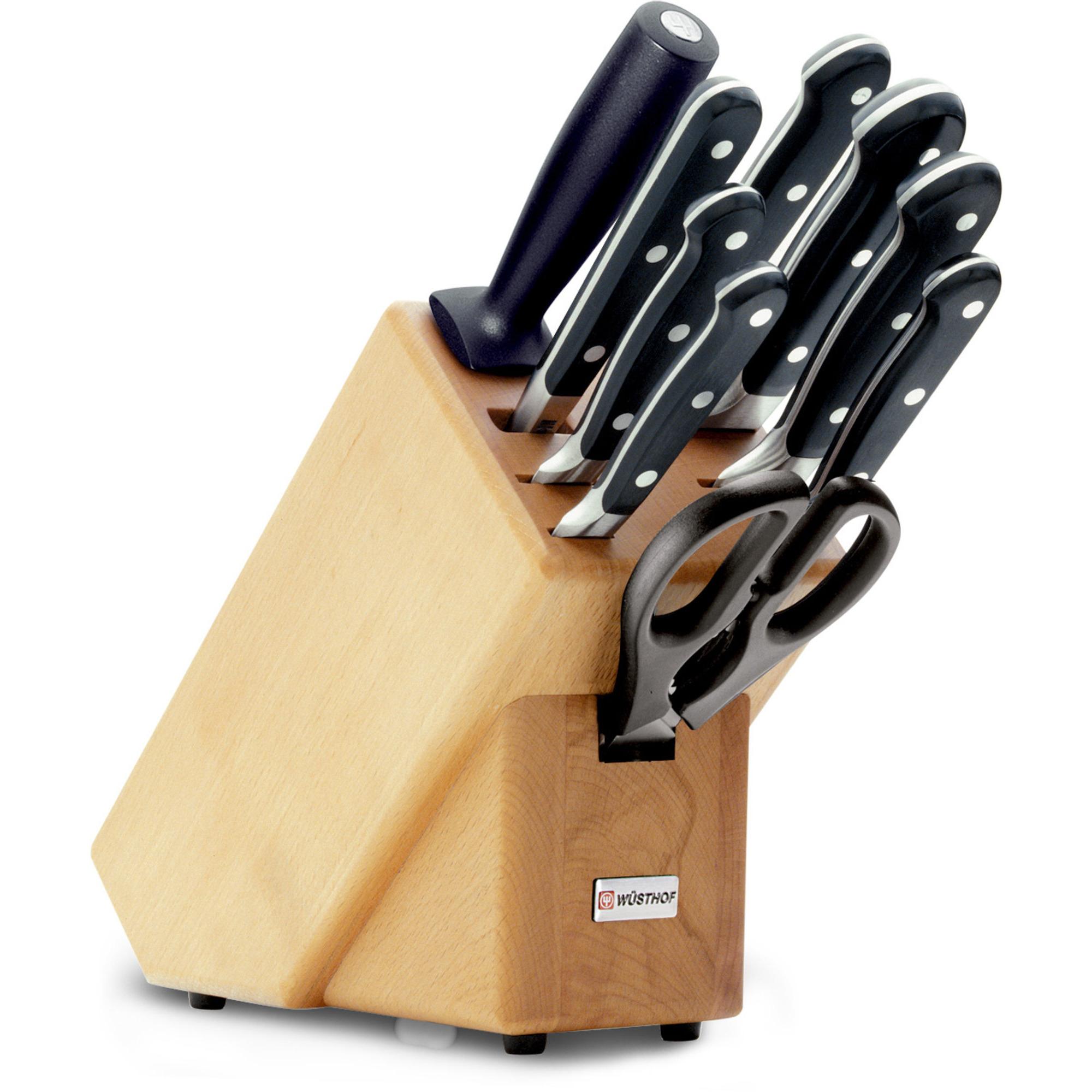 Wüsthof Classic Knivblock med 9 Knivar Bokträ