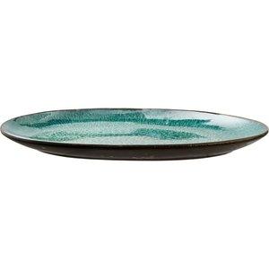 Ovalt fat 36x25 cm svart/grønn