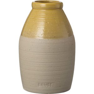 Vase halvglassert, d9 h16, sand/gul