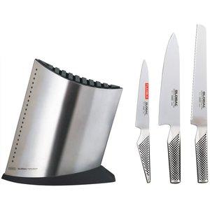 Knivblock med 3 st Knivar Rostfritt