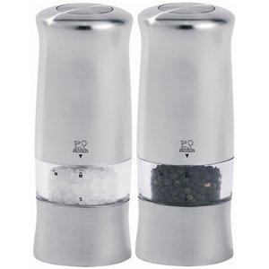 Zeli Duo Elektriske Salt & Pepperkverner 14 cm Sølv