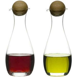 Olja/vinägerflaska med ekkork 2-pack