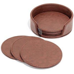 Glasunderlägg CALGARY i läderhållare, Dk Cognac, 6-pack