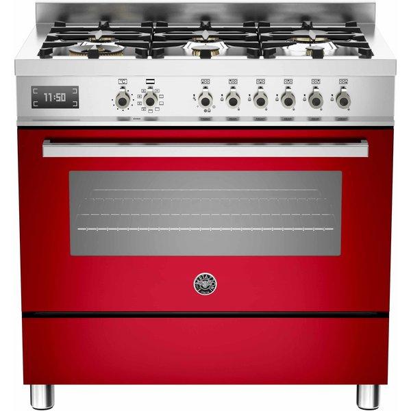 PRO906 Gasspis 90 cm, 1 ugn, 6 brännare, Röd