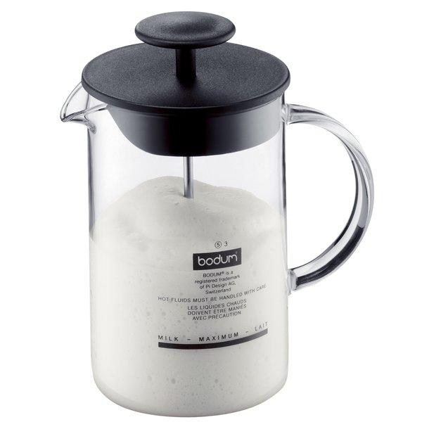 Latteo mjölkskummare m. glashandtag, Svart