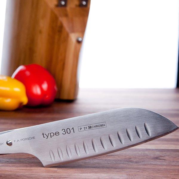 type 301 Design by F. A. Porsche Japansk Kockkniv med Lufthål P21 -18 cm