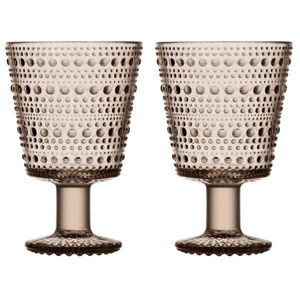Kastehelmi Glass på fot 2 stk. Lintøy