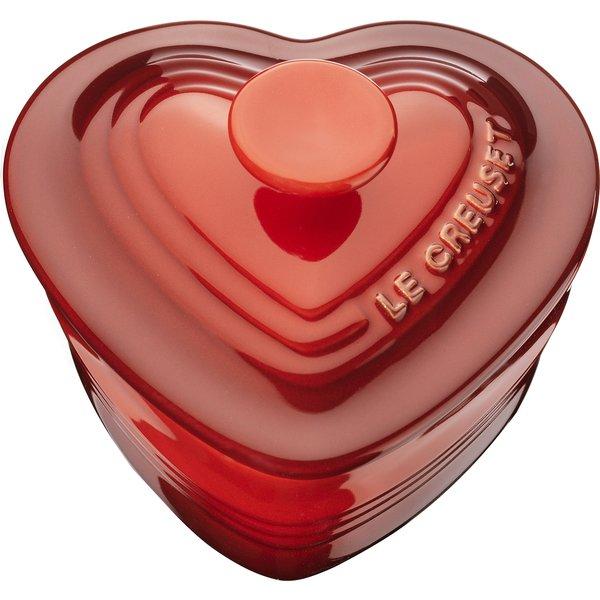 Hjärtramekin med lock 0,25 l Röd